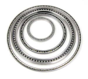 a group of thin section bearings